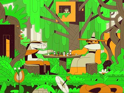 M52 - New World cube treehouse illustration nature forest graphic design 2d film still short film animation