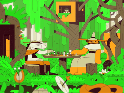 M52 - New World cube treehouse illustration nature forest graphic design 2d film still short film animation