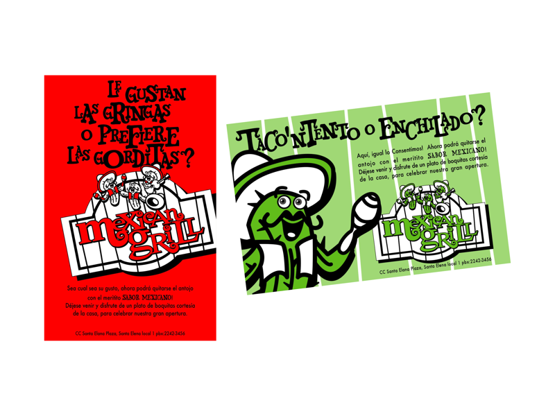 Mexican Grill design character flyers