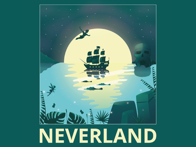 Neverland digital art illustrator illustration peter pan neverland disney