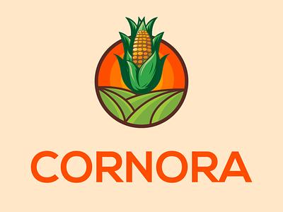 CORNORA LOGO illustrator minimal illustration flat icon vector logo design