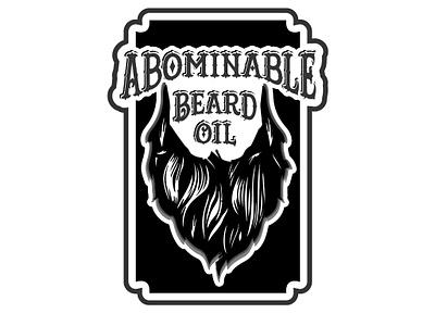 ABOMINABLE BEARD OIL branding flat illustration minimal icon vector logo design