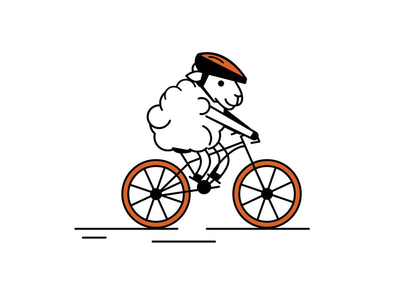 Biking Sheep | Hotel Ketchum sun valley vector character sheep character sheep outdoor orange minimal illustrator illustration hotel ketchum design character designs brand character character branding brand biking bike animal adventure