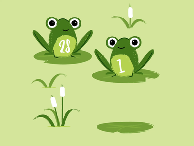 Leap Year character leaping frog cattail strokes texture monochromatic green pond frogs lilypad leap day leap year frog motion retro motion designer midcentury illustration motion graphics animation