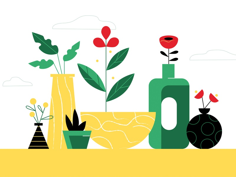 Plants nature natural flowers leaves outdoor plant scene vase poppy yellow spring potted plants foliage plants design illustration