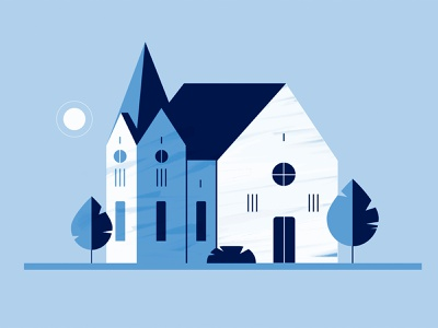 Building | Mini-Series cathedral old church old world castle blue texture retro monochromatic mid-century illustration mid-century design study church design design church building animation style frame vector illustration minimal