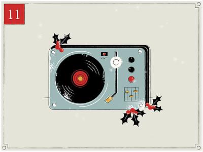 Christmas Countdown | 11 animator vintage music record snow christmas card merry christmas holly advent advent calendar retro gif design texture midcentury happy holidays christmas illustration motion graphics animation
