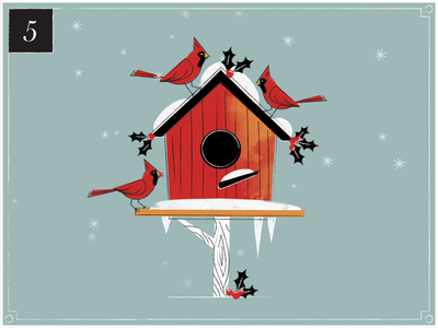 Christmas Countdown | 5 advent winter vintage holly christmas card home snow birdhouse cardinal countdown merry christmas christmas retro advent calendar texture midcentury illustration happy holidays motion graphics animation