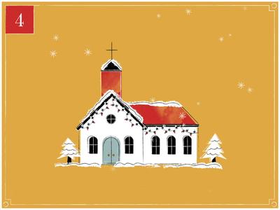 Christmas Countdown | 4 vintage gif church design christmas eve season christmas snow winter building church retro christmas card merry christmas advent calendar texture midcentury illustration motion designer animation happy holidays