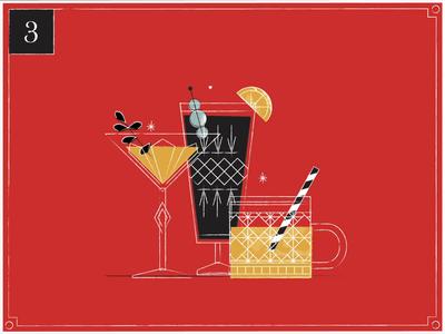 Christmas Countdown | 3 celebrate martini alchohol drinks countdown merry christmas cocktail vintage texture advent christmas card advent calendar retro animation motion graphics illustration midcentury happy holidays christmas