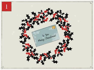 Christmas Countdown | 1 retro design letter midcentury snow winter wreath holly illustrator vintage advent christmas card texture retro merry christmas advent calendar happy holidays christmas illustration motion graphics animation