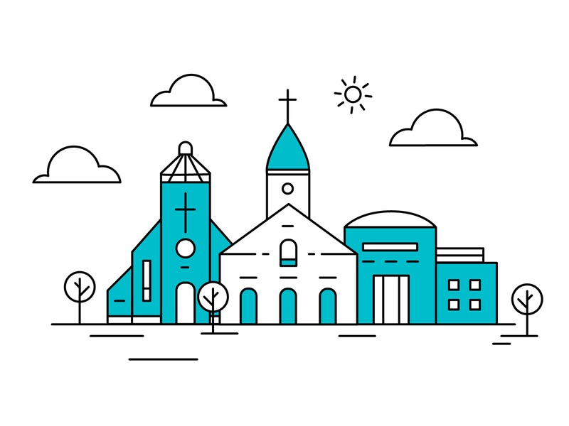ChurchEd branding blue clouds explainer animation minimal ministry architecture animation still monochromatic building church animation slate illustration design