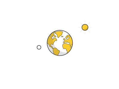 Earth solar system world grow leaf moon sun environmental eco-friendly eco plants vector minimal space globe earth design motion designer illustration motion graphics animation