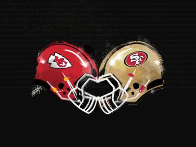 Superbowl LIV american football sf nfl san fran niners 49ers touchdown san francisco chiefs kansas city helmet football superbowl texture animation motion illustration motion graphics