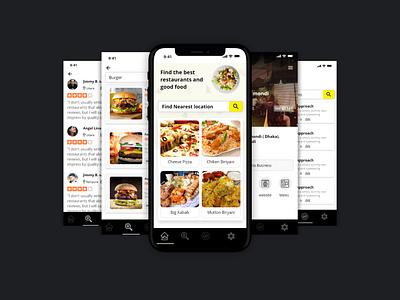 Restaurant mobile app Free design app retro orance review new year restaurant research design