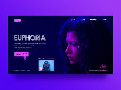 Euphoria - web page concept ux web design website tv tv show tv series homepage euphoria hbo typography ui web design