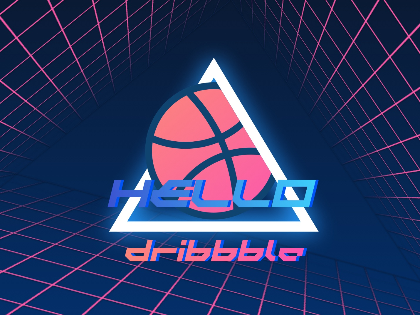 Hello Dribbble! 1986 hello synthwave retro illustration