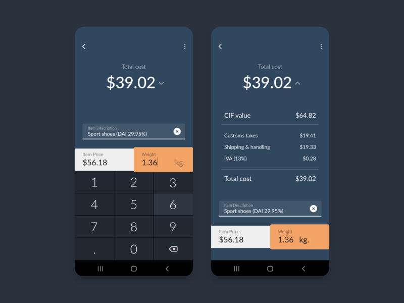 Daily UI 004 - Calculator shipping costs s10 galaxy android design 004 calculator daily dailyui daily ui mobile concept ui costa rica