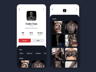 Daily UI 006 - User profile tattoos book follow tattoo user profile user profile 006 dailyui daily ui daily concept ui costa rica