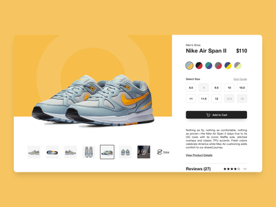 Daily UI 012 - E-Commerce Single Item air max tennis shoes e-shop cart nike shoes shop e-commerce 013 web dailyui daily ui daily design concept ui costa rica