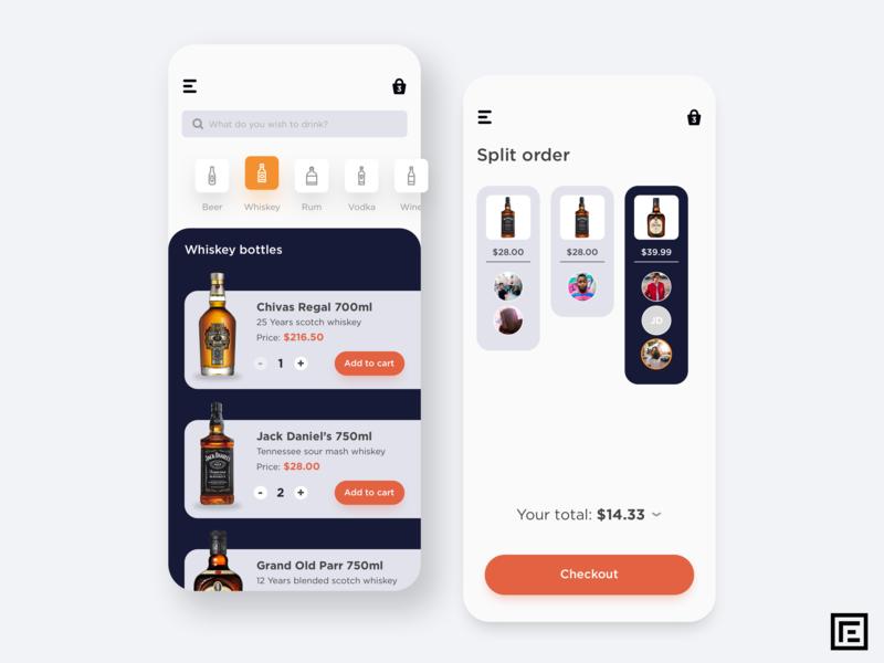 Liquor App concept design concept art color iphone order bill split alcohol liquor concept icon design ux ui mobile costa rica app