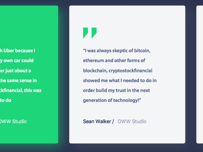 Testimonial cards Crypto Bitcoin Website Design concept web ui user interface wireframe styleframe ux ui website ui website