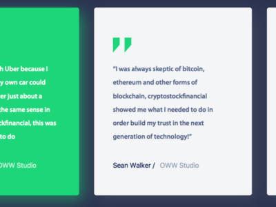 Testimonial cards Crypto Bitcoin Website Design concept