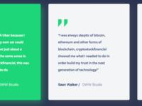 Testimonial cards Crypto Bitcoin Website Design concept