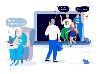 IE 11 animation flat website app web design illustration vector