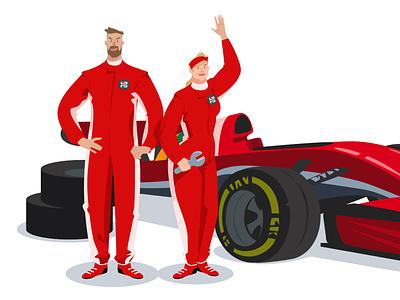 Racing app web illustration vector