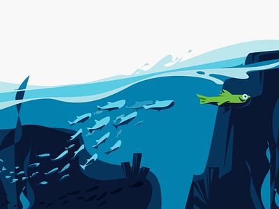 Follow Me fish animation app website web illustration ui vector