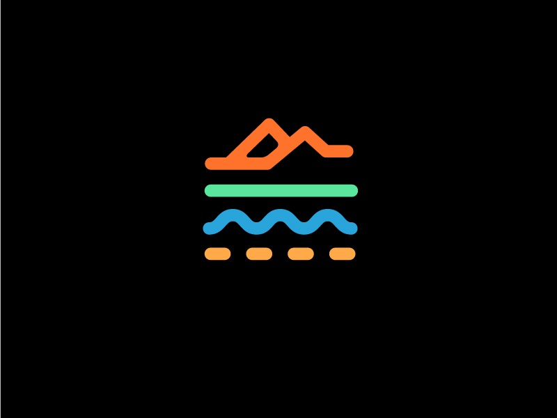 Outdoor Identity road mountains water layers work terrain color palette line work identity