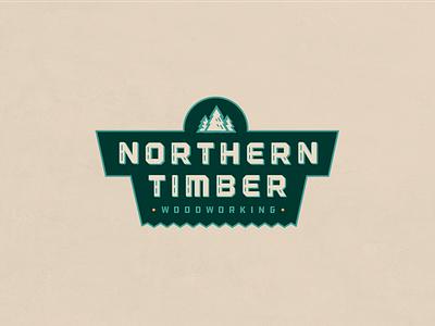 Northern Timber Woodwoorking trees pine lockup mark identity carpentry wood saw lettering illustration logo badge
