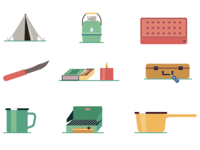 Retro camping gear icons