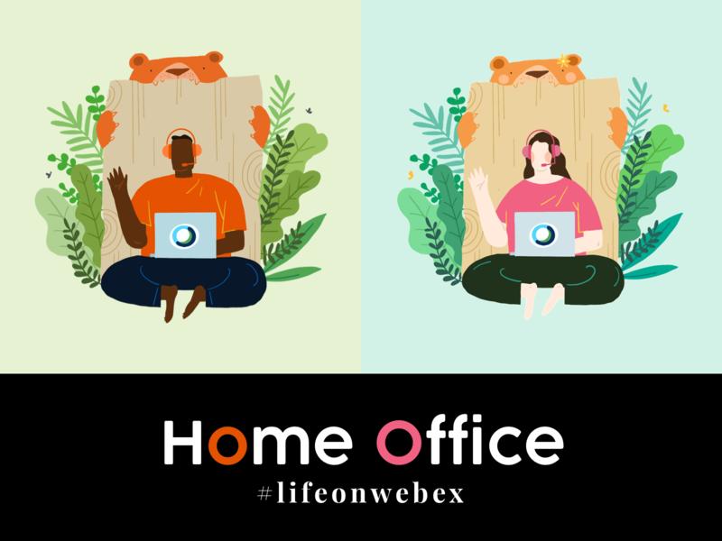 Home Office cisco business branding illustration