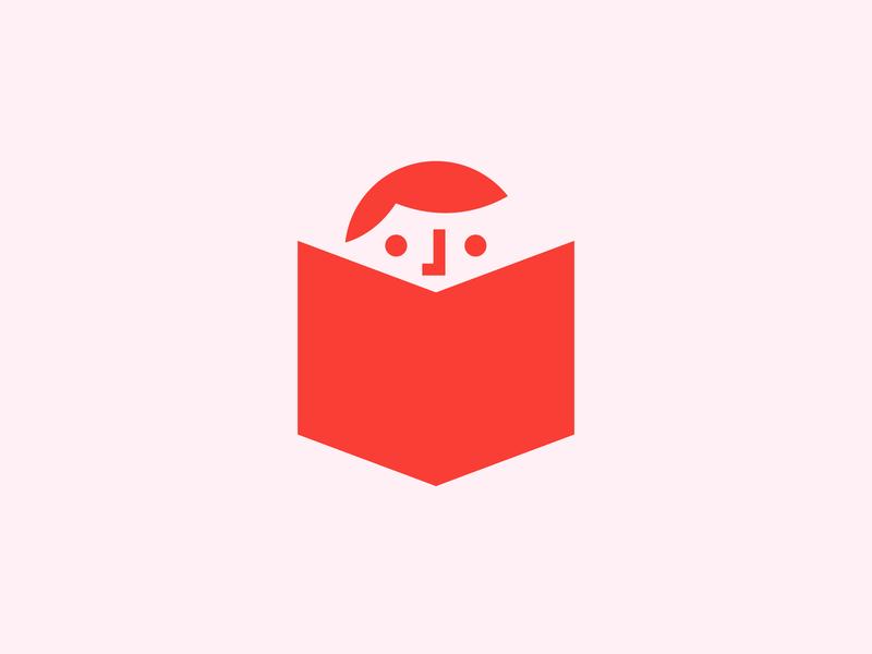 Child Reading illustration geometric identity brand branding symbol mark logo icon children books book lecture festival hour