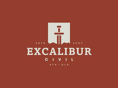 Excalibur Civil designinspiration logo design illustration modern lockup logomark graphic design identity branding brand symbol icon mark logo construction excavator excavation dig civil excalibur