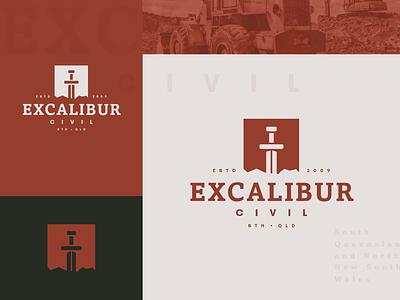 Excalibur Civil pt. II typography type symbol modern mark logomark logo design lockup logo identity design icon graphic design excavator excavation excalibur dig designinspiration construction branding brand