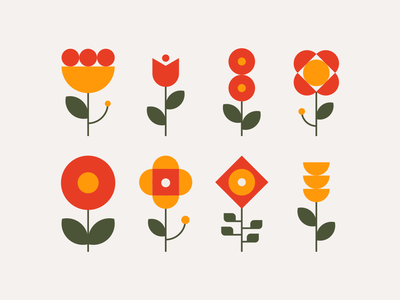 Flores rose botanica mark vector grid design modern graphic design geometrical plants illustration geometric flowers