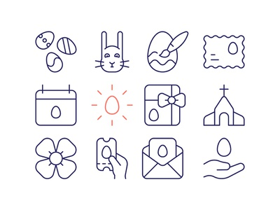 Easter Icons easter egg festival spring easter bunny simple outline line sign icons design symbol pictogram icons icon easter