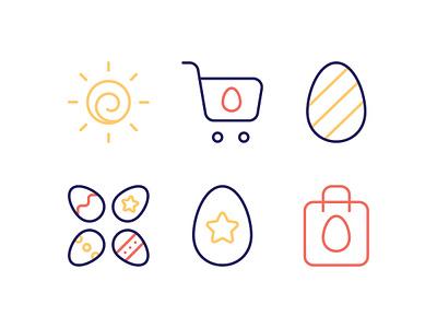 Easter Icon Set star sun shopping cart shopping bag shopping vector spring line icon illustration festival easter egg easter symbol simple sign pictogram outline icon