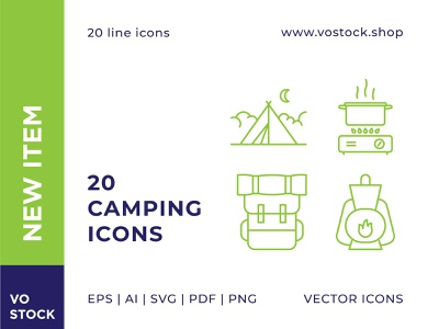 Camping Icons tourist tourism adventure summer camping vector design spring line icon illustration sign symbol simple pictogram outline icon