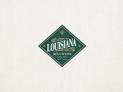 Lousianna type identity typography brand identity logo design branding lettering logo millwork wood badge diamond vintage louisiana new orleans