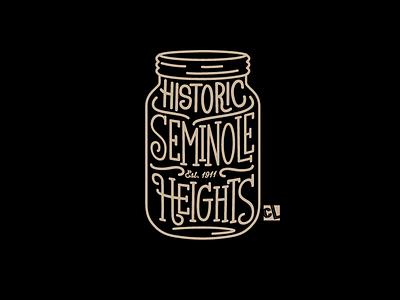 Seminole Heights heights seminole logo design identity branding badge brand identity calligraphy design vintage illustration type tampa icon vector logo shirt lettering mason jar typography