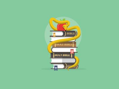 Sex Ed design vector icon education apple snake books illustration
