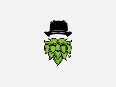 Hop Head identity icon brand identity branding logo design badge vector logo hipster magrite top hat t-shirt illustration clothing beer hophead hop
