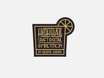 Highball logo design art  deco speakeasy drinks cocktails highball