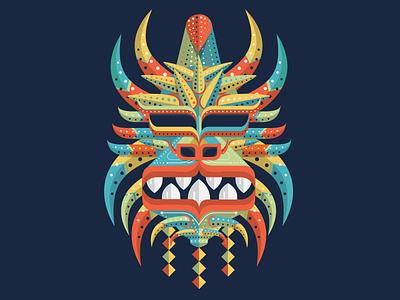 Vejigante caribbean devil horns diablo puerto rico print art icon illustration carnaval tribal vejigante devil vector mask