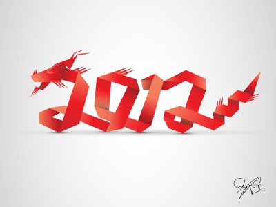 2012 typography ornaments vector lettering 2012 new year origami dragon