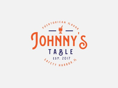 Johnny's Table icon design food puerto rico badge vintage identity type logo design brand identity branding lettering typography b food truck bay tampa logo restaurant